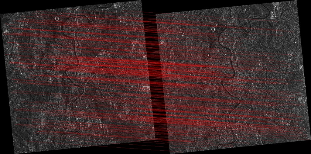 Example of co-registration of COSMO-SkyMed ii) Spotlight images collected over Rome with different polarization (HH on the left and VV on the right). COSMO-SkyMed Product – ©ASI – Agenzia Spaziale Italiana – (2015). All rights reserved. Data processing: Politecnico di Milano.