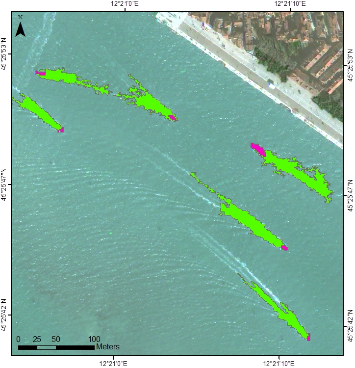 Automatic identification of vessels using very high-resolution satellite images: ships are in dark pink and wakes are in green. Data processing: Politecnico di Milano.
